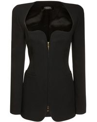 Versace ジップアップクレープミニドレス - ブラック