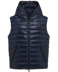 Duvetica Caserso Hooded Shiny Nylon Down Vest - Blue