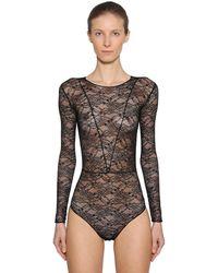 Faith Connexion Long Sleeve Stretch Sheer Lace Bodysuit - Black