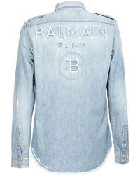 Balmain Logo Embossed Distressed Denim Shirt - Blue