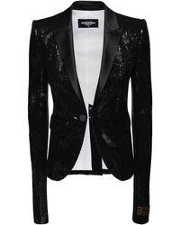DSquared² Sequined Blazer W/ Satin Lapels - Black