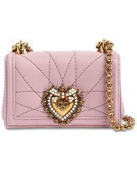 Dolce & Gabbana Кожаная Сумка Micro Devotion - Розовый