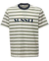 Sunnei T-shirt In Cotone Con Logo - Verde