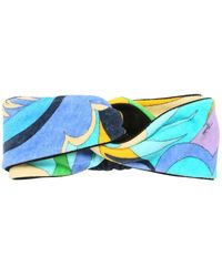 Emilio Pucci Printed Cotton Headband - Blue