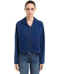 Champion - Oversize Hooded Cotton Crop Sweatshirt - Lyst
