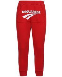 DSquared² Pantaloni Kangaroo Fit In Felpa Di Cotone - Rosso