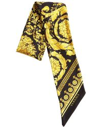 Versace Small Printed Twill Silk Scarf - Black