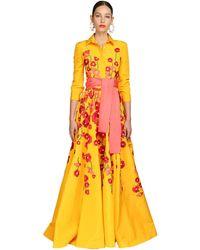 Carolina Herrera Besticktes Abendkleid Aus Seidenfaille - Gelb