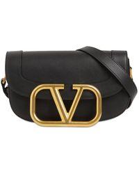Valentino Crossbody Bag Supervee Aus Kalbsleder - Schwarz