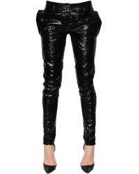 Ronald Van Der Kemp Skinny Patent Leather Trousers - Black