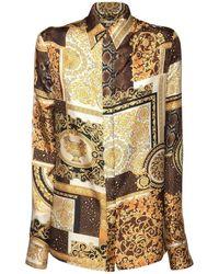 Versace Patchwork シルクツイルシャツ - マルチカラー
