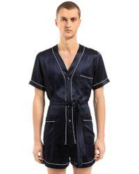 Loretta Caponi - Silk Satin Pajama Shirt & Shorts - Lyst