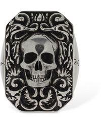"""Alexander McQueen Anello Chevalier """"Skull Signet"""" - Metallizzato"""