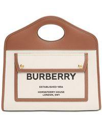 Burberry Kleine Tasche Aus Canvas Und Leder - Braun