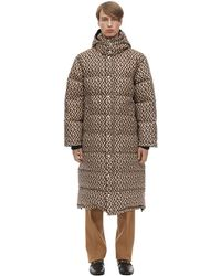 Gucci Hooded Logo Jacquard Down Coat - Natural