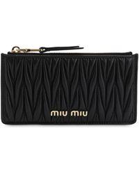 Miu Miu Quilted Leather Card Holder - Schwarz