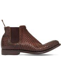 Alberto Fasciani Braided Buffalo Leather Ankle Boots - ブラウン