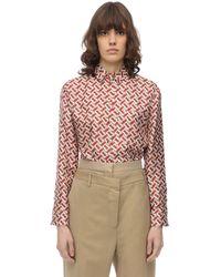 Burberry - Signature-print Collared Silk Shirt - Lyst