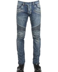 Balmain 18cm Painted Denim Biker Jeans - Blue