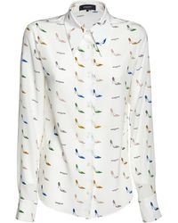Rochas Printed Silk Crepe De Chine Shirt - White