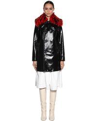 Marni Patent Leather Coat W/ Fur Collar - Black