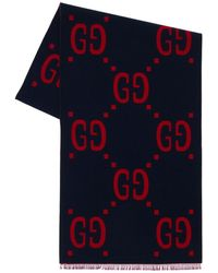 Gucci Gg ウール&シルクジャガードマフラー - ブルー