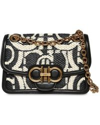 Ferragamo Gancio Raffia Effect Bag W/ Leather - Black