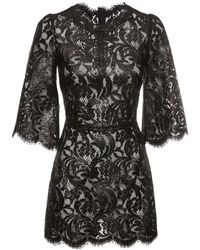 Dolce & Gabbana ラミネートレースミニドレス - ブラック