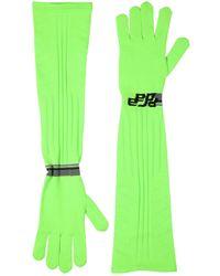 Prada Lange Handschuhe Aus Technostrick Mit Logointarsie - Grün