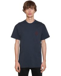 Loewe T-shirt In Jersey Di Cotone Con Ricamo - Blu