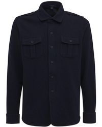 Sease ウール&ナイロンジャージーオーバーシャツ - ブルー