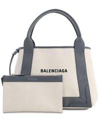 Balenciaga Sm Navy Cabas Cotton Canvas Bag - Mehrfarbig