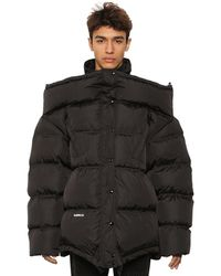 Vetements 'upside-down' Down Jacket W/ Logo Patch - Black