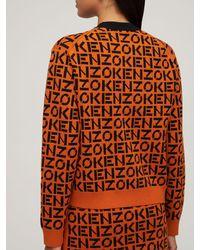 KENZO Полухлопковый Трикотажный Свитер - Оранжевый