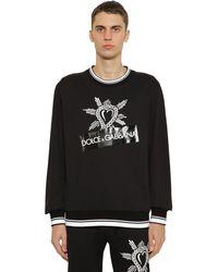 Dolce & Gabbana Sweatshirt Aus Baumwolljersey Mit Druck - Schwarz
