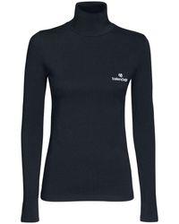 Balenciaga Топ Из Хлопка С Высоким Воротником И Логотипом - Черный