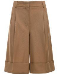 CASASOLA High Waist Wool Bermuda Shorts - Natural