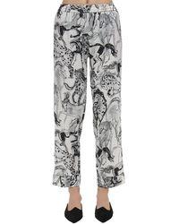 Stella McCartney Margot Racing Print Silk Pyjama Bottoms - Black