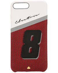 Chaos Iphone 8/7 Plus-cover Aus Leder Mit Druck - Rot