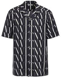 Valentino Vltn Times コットンボウリングシャツ - ブラック