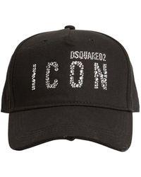 DSquared² 'Icon' Baseballkappe mit Strass - Schwarz