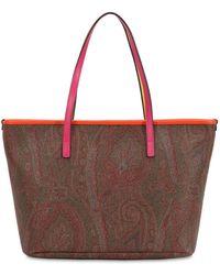 Etro Borsa Shopping In Cotone Spalmato - Multicolore