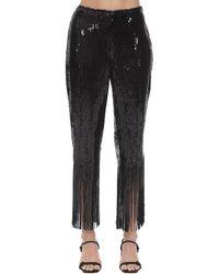 L'Autre Chose High Waist Sequins Trousers W/ Fringes - Black