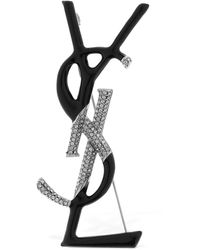 Saint Laurent Logo Enamelled Brooch W/ Crystals - Multicolour