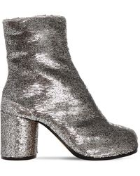 Maison Margiela 80mm Tabi Sequined Ankle Boots - Metallic