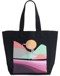 Isabel Marant Printed Cotton Tote Bag - Black