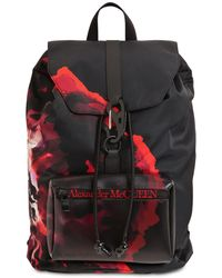 Alexander McQueen Floral Printed Nylon Backpack - Black