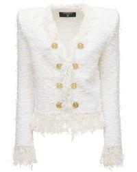 Balmain クロップドツイードジャケット - ホワイト