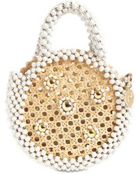 Rosantica Alida Round Straw Beaded Top Handle Bag - Weiß