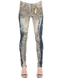 Robin's Jean Slim Washed Denim Biker Jeans - Blue